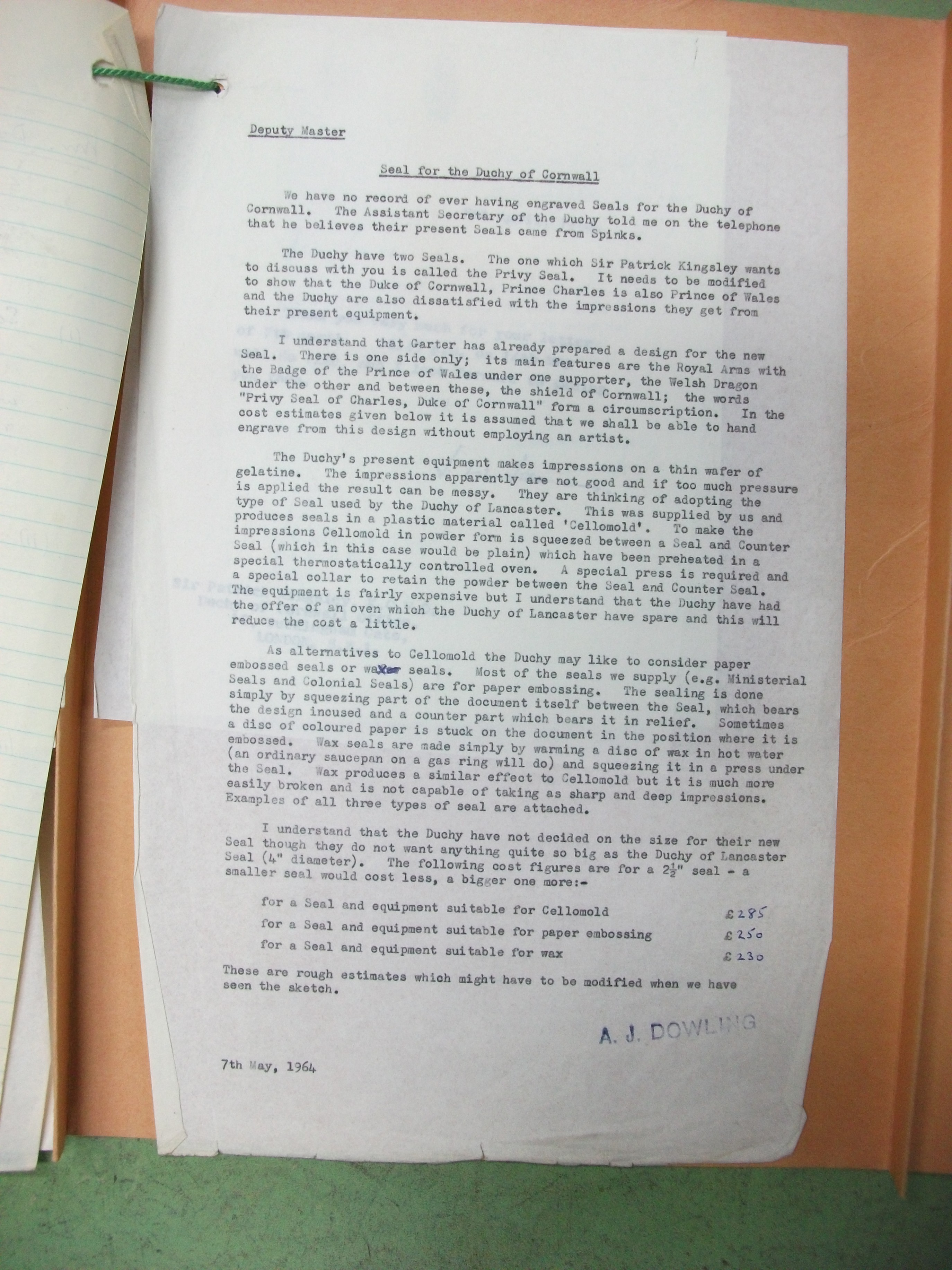 Letter from 7 May 1964, re Seal of the Duke of Cornwall